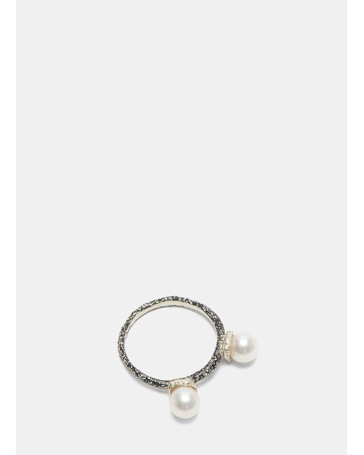 Pearls Before Swine | Metallic Floating Pearl Two-tone Ring In Silver And Black | Lyst
