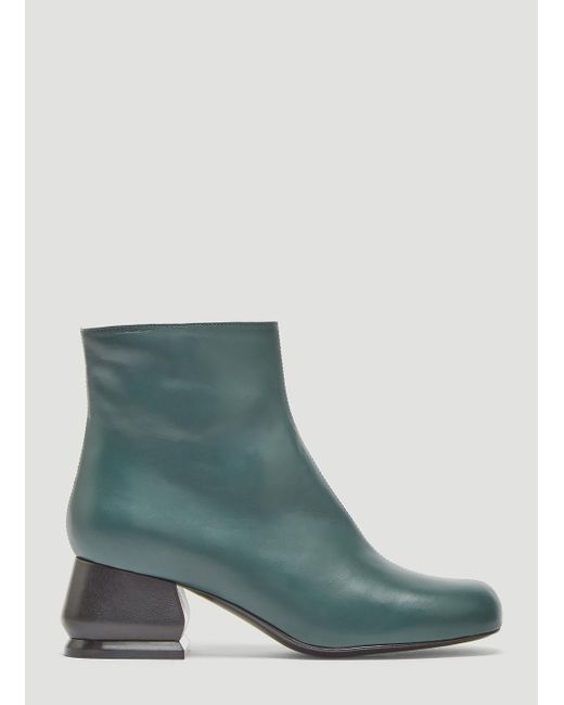 Marni - Leather Ankle Boots In Green - Lyst