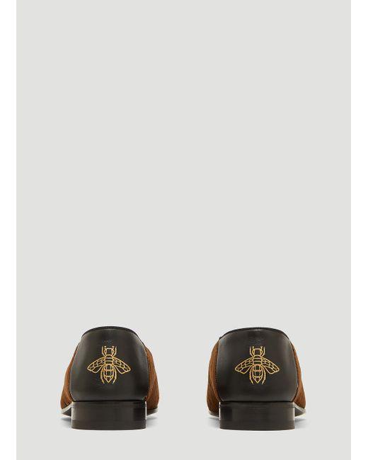 debe5ee896d ... Gucci - Brown Gallipoli Logo Jacquard Velvet Loafers for Men - Lyst ...