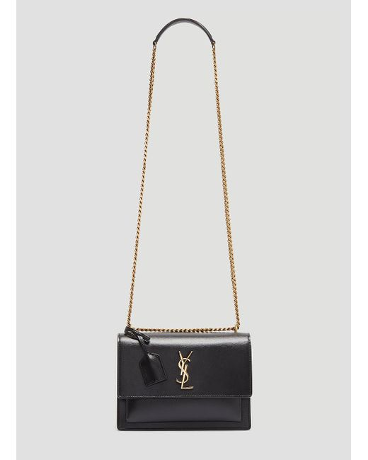 Saint Laurent - Sunset Chain Shoulder Bag In Black - Lyst ... 6857fa6ca6cfc