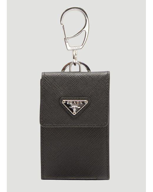 prada saffiano leather card holder keyring in black for men lyst - Card Holder With Keyring