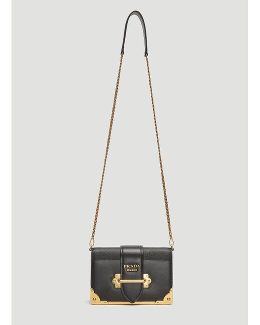 e224678e7a3b Lyst - Prada Mini Cahier Shoulder Bag In Black in Black