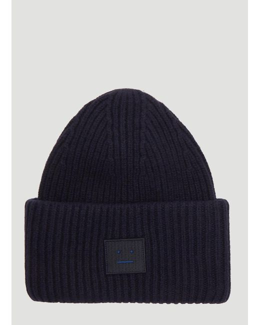 5838367498184c Acne Studios Navy Blue Pansy Ribbed Beanie in Blue - Lyst