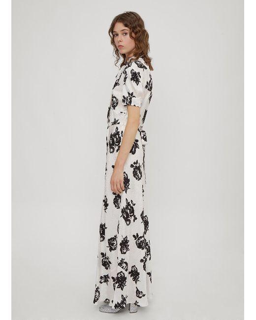 d8ea758ae0 Miu Miu Floral-print Silk-jacquard Maxi Dress in White - Save 61% - Lyst