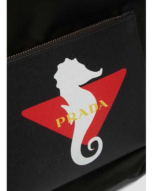 56f860b74737bd ... Prada - Seahorse Print Drawstring Backpack In Black for Men - Lyst ...