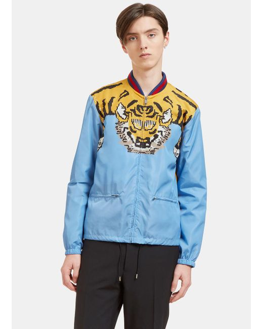 788a2e21b Gucci Men's Tiger Print Windbreaker Bomber Jacket In Blue in Blue for