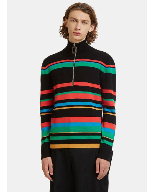 J.W. Anderson | Striped Knit Polo Zipped Sweater In Black for Men | Lyst
