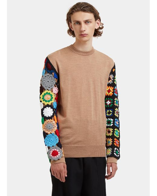 J.W. Anderson | Natural Contrast Crochet Knit Sleeved Sweater In Beige for Men | Lyst