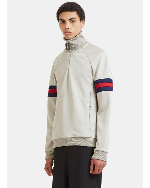 J.W. Anderson | Gray Sports Striped Zip-up Sweater In Grey for Men | Lyst