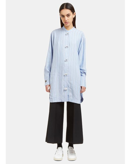 J.W. Anderson | Women's Striped Silk Shirt Dress In Blue | Lyst