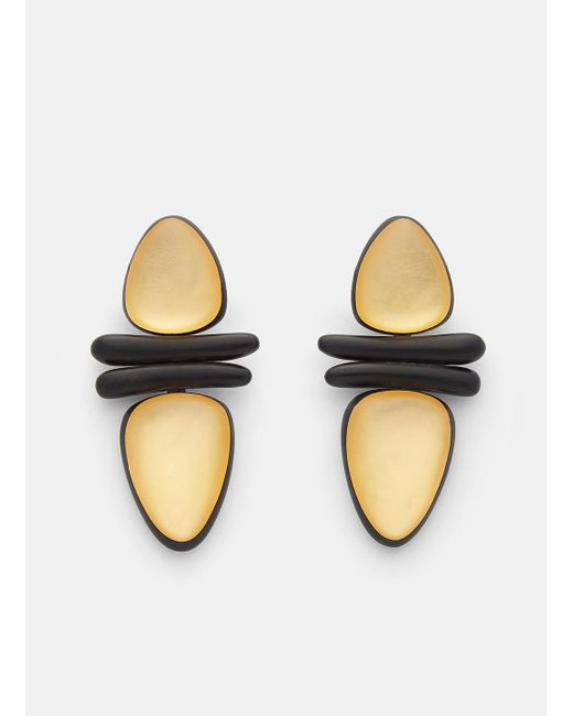 Monies | Metallic 7798 Ebony And Gold Leaf Clip-on Earrings In Black And Gold | Lyst