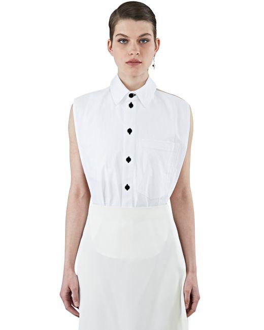 69 Women 39 S Sleeveless Halterneck Oxford Shirt In White In