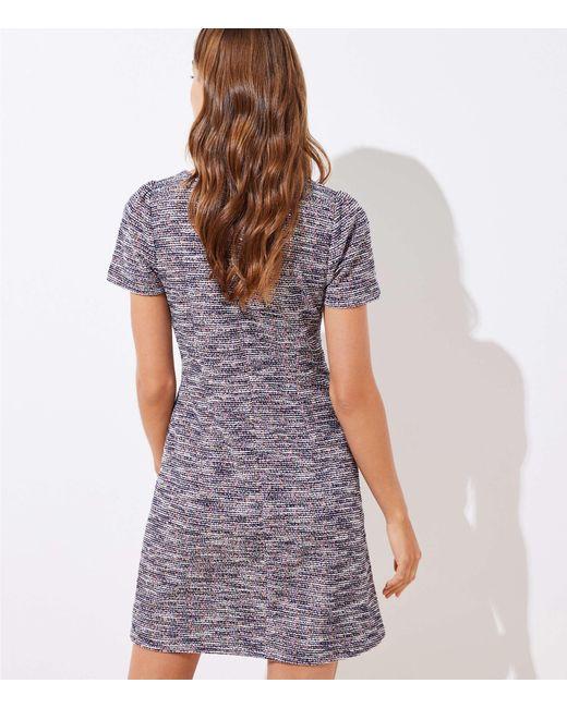 Loft Petite Textured Puff Sleeve Flare Dress In Blue Lyst