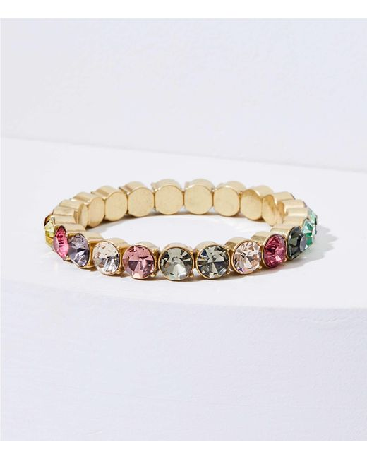 LOFT - Metallic Rainbow Stretch Bracelet - Lyst