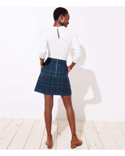 0426fb1c9 LOFT Petite Plaid Pocket Shift Skirt in Blue - Save 2% - Lyst