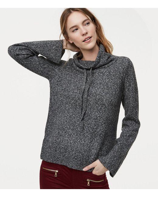 LOFT - Gray Drawstring Neck Sweater - Lyst