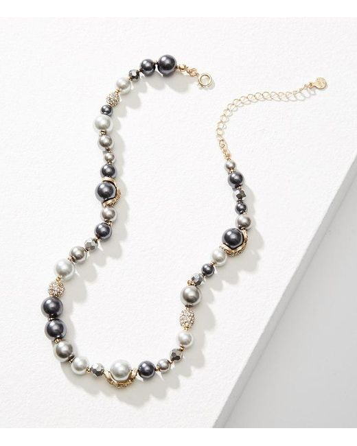 LOFT | Metallic Mixed Pearlized Necklace | Lyst