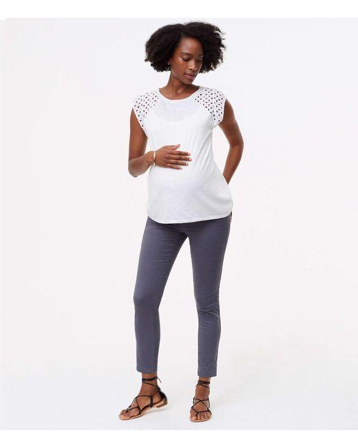 LOFT - Gray Petite Maternity Skinny Sanded Sateen Chinos - Lyst