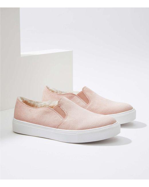LOFT - Pink Faux Fur Lined Slip On Sneakers - Lyst