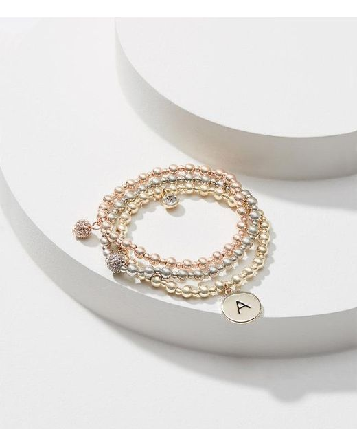 LOFT | Metallic Initial Stretch Bracelet Set | Lyst
