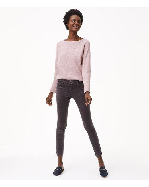 LOFT   Gray Petite Skinny Brushed Corduroy Pants In Modern   Lyst