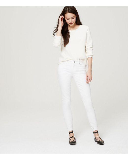 LOFT - Petite Curvy Skinny Jeans In White - Lyst