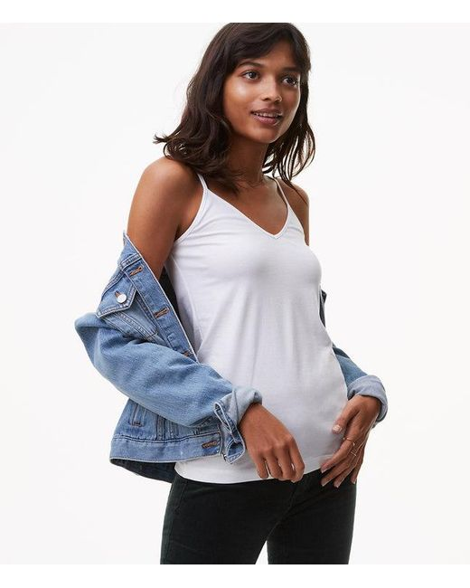 LOFT | White Petite V-neck Clean Cami | Lyst