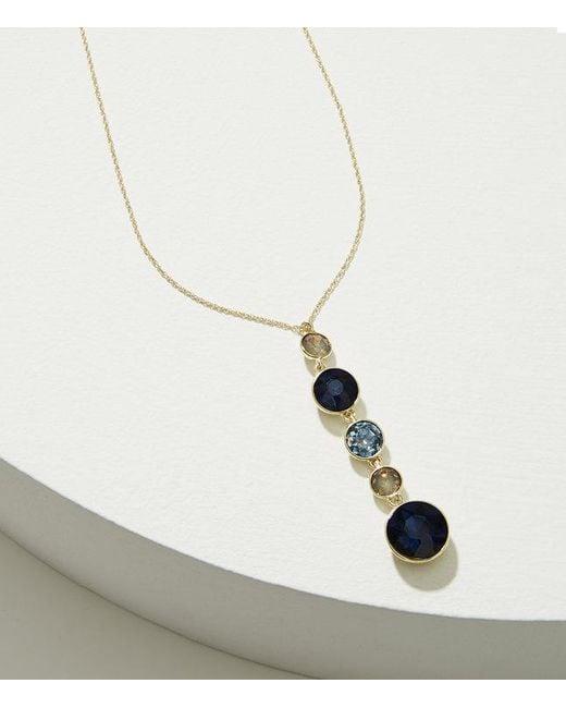 LOFT | Metallic Stacked Crystal Pendant Necklace | Lyst