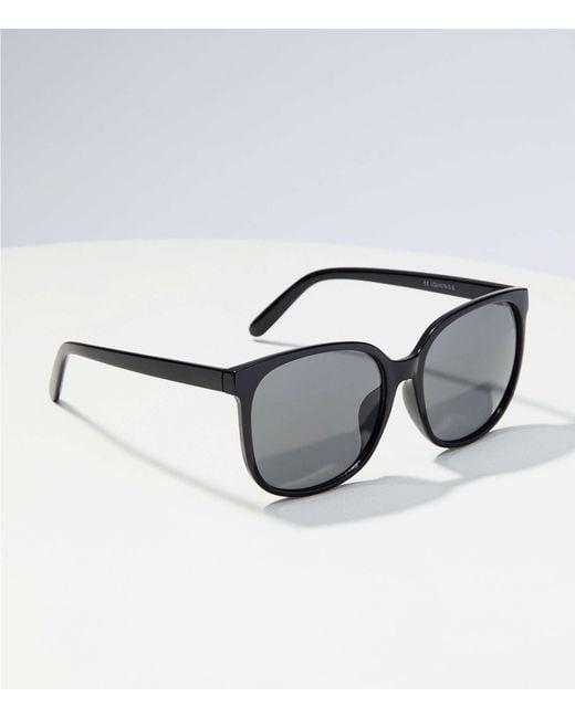 LOFT - Black Rounded Square Sunglasses - Lyst