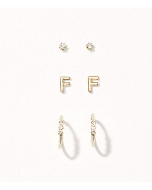 LOFT | Multicolor Pave Initial Stud Earring Set | Lyst