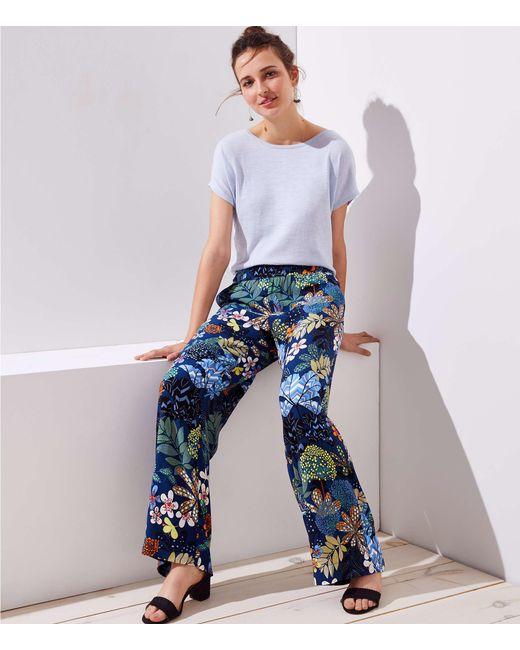 LOFT - Blue Petite Tropicalia Fluid Wide Leg Pants - Lyst