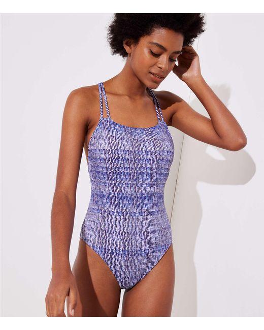 LOFT - White Beach Wavy Strappy One Piece Swimsuit - Lyst