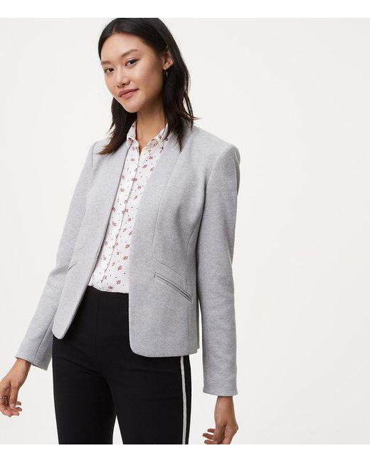LOFT | Gray Paneled Knit Blazer | Lyst