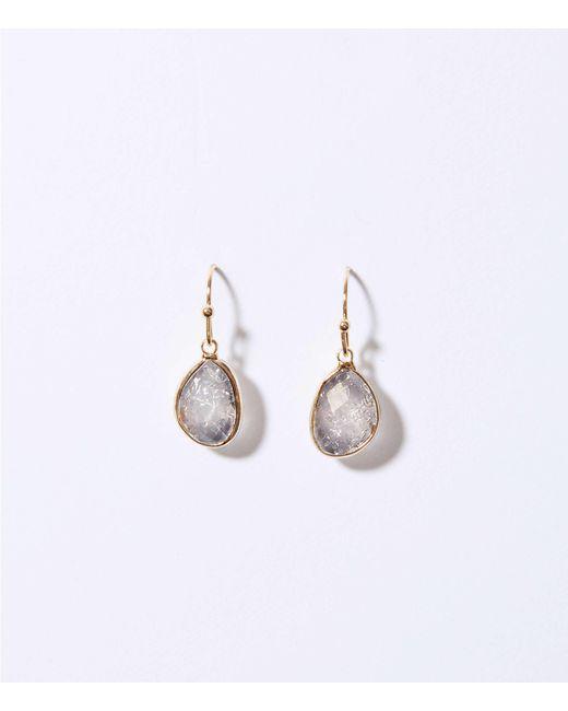 LOFT - Gray Faceted Stone Drop Earrings - Lyst