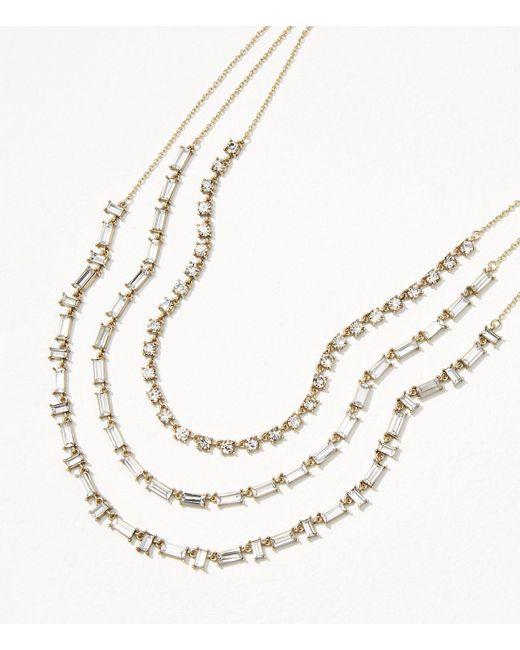LOFT | Metallic Crystal Baguette Layered Necklace | Lyst