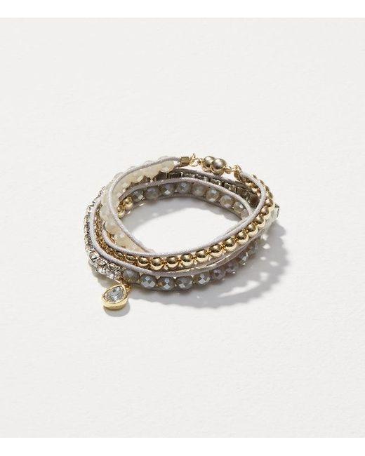 LOFT   Metallic Crystal Beaded Wrap Bracelet   Lyst