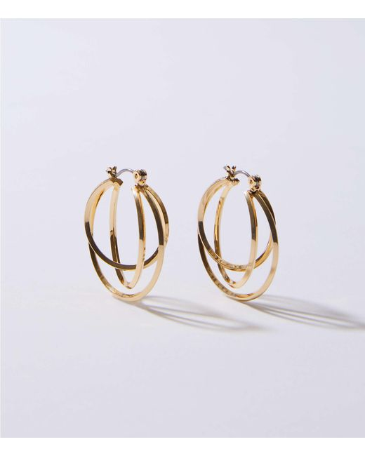 LOFT - Metallic Linked Circle Hoop Earrings - Lyst