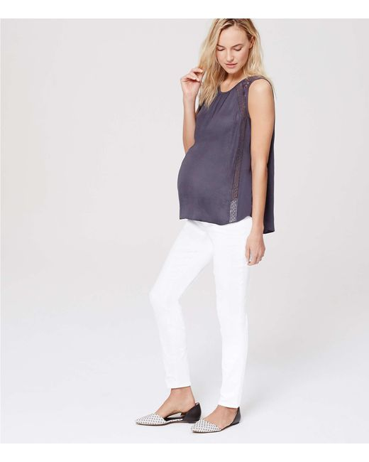 LOFT - Petite Maternity Roll Panel Skinny Jeans In White - Lyst