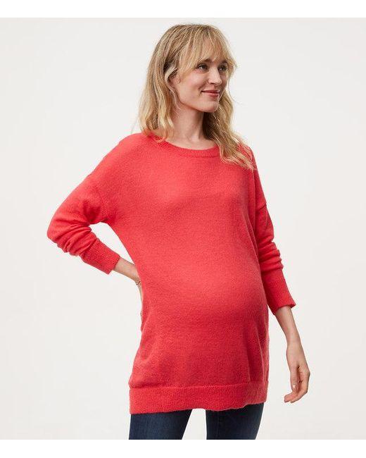 Loft Maternity Boyfriend Sweater in Red | Lyst