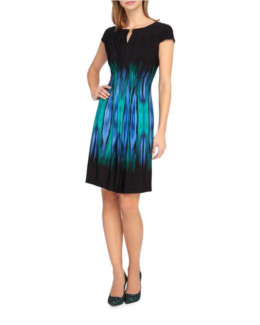 Tahari | Black Stretch Satin With Illusion Dress | Lyst