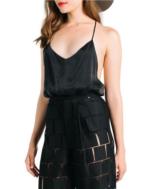 Kendall + Kylie Silk Draped Tank In Black
