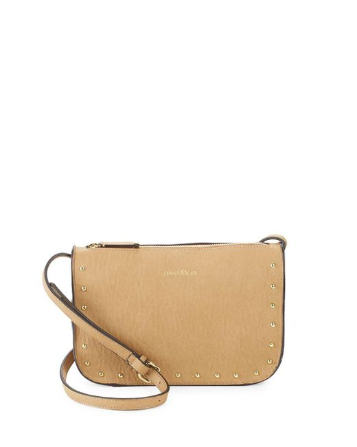 Calvin Klein - Brown Cora Studded Leather Crossbody Bag - Lyst