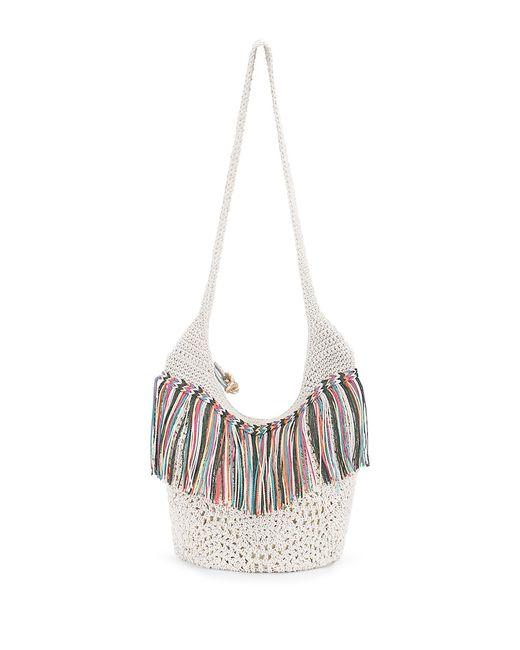 Crochet Fringe Bag : The sak Heritage Fringed Crochet Bucket Bag in White (Multi Fringe ...