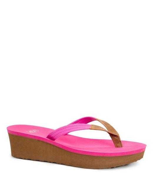 Ugg Ruby Beach Leather Wedge Flip Flops In Pink  Lyst-6053