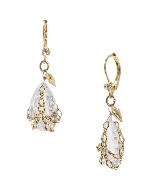 Betsey Johnson | Metallic Gold And Crystal Drop Earrings | Lyst