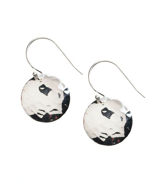 Lord & Taylor | Metallic Sterling Silver Hammered Disc Drop Earrings | Lyst
