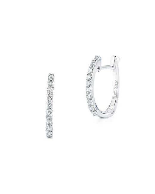Roberto Coin | Metallic Diamond And 18k White Gold Hoops, 0.25in | Lyst