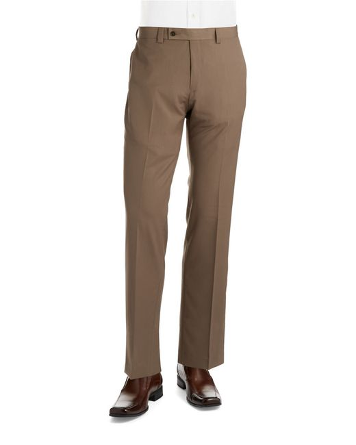 Calvin Klein | Brown Flat-front Trousers for Men | Lyst