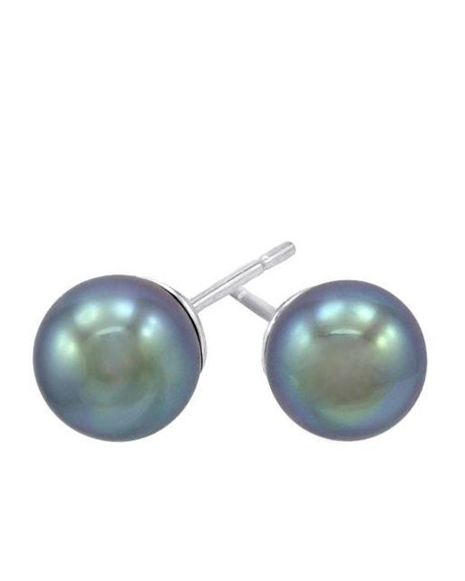 Majorica | Gray Sterling Silver Organic Man-made Grey Pearl Earrings | Lyst