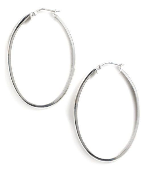 Lord & Taylor | Metallic Sterling Silver Oval Hoop Earrings | Lyst